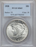 Peace Dollars: , 1928 $1 MS63 PCGS. PCGS Population (2145/1981). NGC Census:(1360/1032). Mintage: 360,649. Numismedia Wsl. Price for proble...