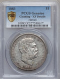 Coins of Hawaii: , 1883 $1 Hawaii Dollar -- Cleaned -- PCGS Genuine Secure. XFDetails. Mintage: 500...