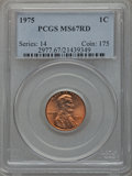 Lincoln Cents: , 1975 1C MS67 Red PCGS. PCGS Population (73/0). NGC Census: (31/0).Numismedia Wsl. Price for problem free NGC/PCGS coin in...