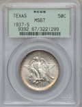 Commemorative Silver: , 1937-S 50C Texas MS67 PCGS. PCGS Population (86/0). NGC Census:(95/5). Mintage: 6,637. Numismedia Wsl. Price for problem f...