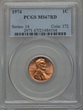 Lincoln Cents: , 1974 1C MS67 Red PCGS. PCGS Population (85/0). NGC Census: (28/0).Numismedia Wsl. Price for problem free NGC/PCGS coin in...