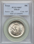 Commemorative Silver: , 1936-D 50C Texas MS67 PCGS. PCGS Population (324/13). NGC Census:(258/10). Mintage: 9,039. Numismedia Wsl. Price for probl...