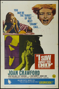 """I Saw What You Did and I Know Who You Are! (Universal, 1965). One Sheet (27"""" X 41""""). Thriller. Starring Joan C..."""
