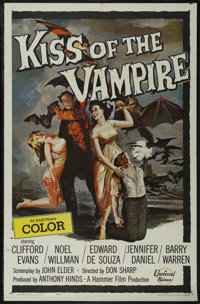 """Kiss of the Vampire (Universal International, 1963). One Sheet (27"""" X 41""""). Horror. Directed by Don Sharp. Sta..."""