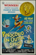 "Movie Posters:Animated, Pinocchio In Outer Space (Universal, 1965). One Sheet (27"" X 41""). Animated Adventure. Starring the voices of Peter Lazer, A..."