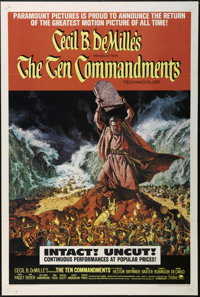 """The Ten Commandments (Paramount, R-1966). One Sheet (27"""" X 41""""). Biblical Epic. Directed by Cecil B. DeMille..."""