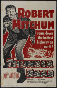 """Thunder Road (United Artists, R-1962). One Sheet (27"""" X 41""""). Crime. Directed by Arthur Ripley. Starring Rober..."""