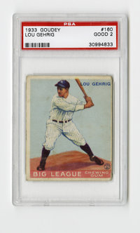 1933 Goudey Lou Gehrig #160 PSA Good 2. Nice example of one of Gehrig's two entries in the wildly popular '33 Goudey iss...
