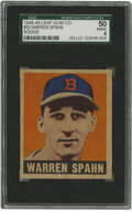 Baseball Cards:Singles (1940-1949), 1948 Leaf Warren Spahn #32 SGC VG/EX 50. Coveted rookie card offersone of the boldest visuals of all post-war issues. Nic...
