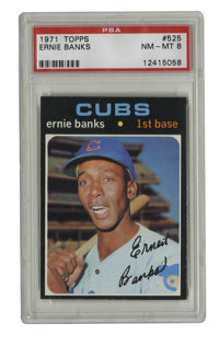 1971 Topps Ernie Banks #525 PSA NM-MT 8. The playful personality of HOFer Ernie Banks is on display in the photograph of...
