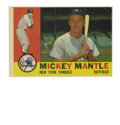 Baseball Cards:Singles (1960-1969), 1960 Topps Mickey Mantle #350. Strong rendering of the Mick's entryin Topps' 1960 issue exhibits excellent color registrat...