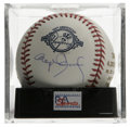 Autographs:Baseballs, Roger Clemens Single Signed Baseball, PSA Mint 9. Side panel-signedYankees 100th anniversary ball comes to us via hurler R...