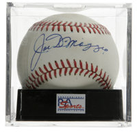 Joe DiMaggio Single Signed Baseball, PSA NM+ 7.5. Quality sweet spot signature comes to us courtesy of the Yankee Clippe...