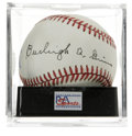 Autographs:Baseballs, Burleigh Grimes Single Signed Baseball, PSA NM-MT+ 8.5. Nice singlefrom the last man officially allowed to throw a legal s...
