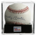 Autographs:Baseballs, Mickey Mantle Single Signed Baseball, PSA NM+ 7.5. Mickey Mantle gives us this OAL (Brown) ball adorned with an excellent s...