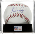 Autographs:Baseballs, Nolan Ryan Single Signed Baseball, PSA Mint+ 9.5. Gorgeous sweetspot signature from the career Strike Out King. Ball has b...