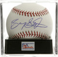 Autographs:Baseballs, Barry Sanders Single Signed Baseball, PSA Mint+ 9.5. The FootballHall of Famer creates a unique collectible with a gorgeou...