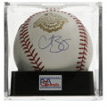 Autographs:Baseballs, Curt Schilling Single Signed Baseball, PSA Mint 9. Official 2001World Series baseball has been signed on the side panel by...