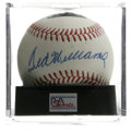Autographs:Baseballs, Ted Williams Single Signed Baseball, PSA NM-MT+ 8.5. The man withperhaps the sweetest swing in baseball's fine history, Te...