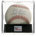 """Autographs:Baseballs, Bobby Thomson/Ralph Branca Dual-Signed Baseball, PSA NM-MT+ 8.5.The two players involved in the famous """"Shot Heard Round t..."""