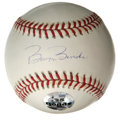 Autographs:Baseballs, Barry Bonds Single Signed Baseball. Home run aficionado Barry Bondshas added his ink signature to the sweet spot of the OM...