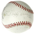 "Autographs:Baseballs, Paul ""Daffy"" Dean Single Signed Baseball. Much tougher than hisbrother Dizzy, and particularly with the ""Daffy"" name, of w..."