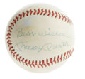 "Autographs:Baseballs, Mickey Mantle ""Best Wishes"" Single Signed Baseball. Yet anotherMantle single is made available here, this one on the side ..."