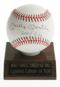 "Autographs:Baseballs, Mickey Mantle ""200/536"" Single Signed Baseball. Known perhaps as the finest switch hitter to play the game, Mickey Mantle p..."