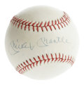 Autographs:Baseballs, Mickey Mantle Single Signed Baseball. OAL (Brown) is lightly, butevenly toned and provides a canvas for a 8/10 sweet spot ...