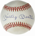 Autographs:Baseballs, Mickey Mantle Single Signed Baseball. Stunning example of the NewYork Yankees hero's signature appears on the sweet spot o...