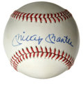 Autographs:Baseballs, Mickey Mantle Single Signed Baseball. Excellent blue ink signaturefrom the Mick resides on the sweet spot of the OAL (Brow...