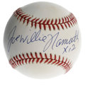 Autographs:Baseballs, Joe Willie Namath Single Signed Baseball. Unique sweet spotsignature from the HOF quarterback from New York Jets fame. Na...