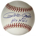 "Autographs:Baseballs, Pete Rose ""Hit King"" Single Signed Baseball. On the leather of theONL (Coleman) orb we offer here is a fantastic sweet spo..."