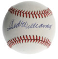 Autographs:Baseballs, Ted Williams Single Signed Baseball. Outstanding 10/10 sweet spotsingle comes to us courtesy of the Splendid Splinter him...