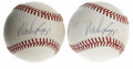 Autographs:Baseballs, Wade Boggs Single Signed Baseballs Lot of 2. Pair of OAL (Brown)baseballs, each having been signed on the sweet spot by th...(Total: 2 Items)