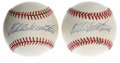 Autographs:Baseballs, Eddie Mathews Single Signed Baseballs Lot of 2. Fantastic pair ofsweet spot singles are offered here courtesy of the HOF B...(Total: 2 Items)