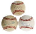 Autographs:Baseballs, Hall of Fame Pitchers Single Signed Baseballs Lot of 3. Fine trioof singles courtesy of three hurlers who have been enshri...(Total: 3 Items)
