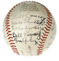 Autographs:Baseballs, Circa 1940s Minor Leaguers Multi-Signed Baseball. On the leather ofthis Official Pacific Coast League orb reside twenty-tw...