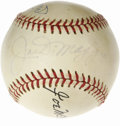 Autographs:Baseballs, DiMaggio, Mantle & McCarthy Signed Baseball. Yankee fans will be drawn to this Hall of Fame trio, who appear with Willie Ra...