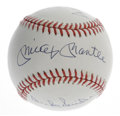 Autographs:Baseballs, Mays, Mantle and Snider Multi-Signed Baseball. Willie, Mickey andthe Duke appear in perfect blue ink on an ONL (White) bas...