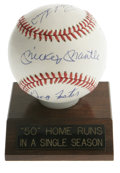 Autographs:Baseballs, 50 Home Run Club Multi-Signed Baseball. Unique theme signedbaseball has as its focus hitters who have hit at least 50 home...