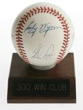 Autographs:Baseballs, 300 Win Club Multi-Signed Baseball. Eight HOF members of theillustrious 300 Win Club appear on this ONL (White) baseball, ...