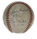 Autographs:Baseballs, Perfect Game Pitchers Multi-Signed Baseball with Plaque. Uniquetheme signed baseball has gathered the signatures of all se...