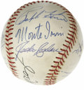 Autographs:Baseballs, 1970's Hall of Famers Multi-Signed Baseball with Mantle, DiMaggio.The two Yankee legends reside side by side on this OAL (...