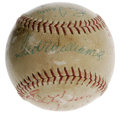 Autographs:Baseballs, Baseball Stars Multi-Signed Baseball with Ted Williams and NellieFox. Great vintage baseball holds eleven signatures from ...