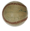 Autographs:Baseballs, Multi-Signed Baseball with Mantle/Dean. The leather of thisbaseball appears as if it collected signatures on more than one...