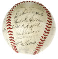 Autographs:Baseballs, 1942 American League All-Star Team Signed Baseball. Two firstinning home runs by Boudreau and York were all the Junior Cir...