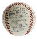 Autographs:Baseballs, 1942 Boston Braves Team Signed Baseball. Tremendous amount of starpower is evident upon inspection of the leather of this ...