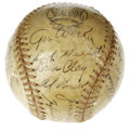 Autographs:Baseballs, 1945 Cincinnati Reds Team Signed Baseball. Tough Crosley Fieldsphere pairs twenty-four signatures with an ONL (Frick) base...