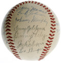 Autographs:Baseballs, 1947 Boston Red Sox Team Signed Baseball. Here we offer a finevintage OAL (Harridge) ball, signed by twenty-six members of...
